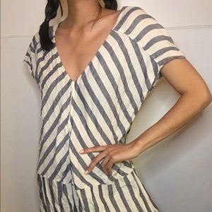 J. crew striped midi dress in white and grey